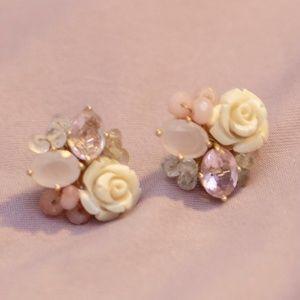 pink rose resin stone stud earrings
